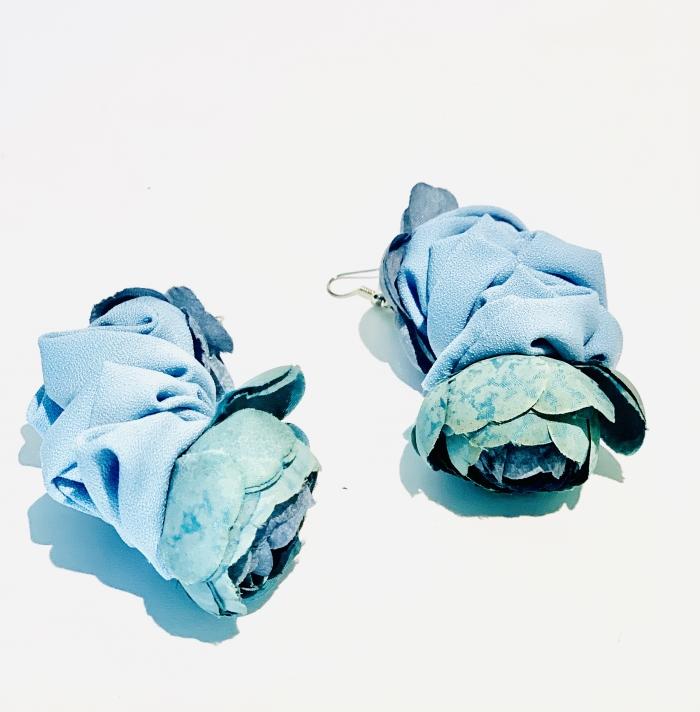 Дизайнерски обеци от пастелен текстил